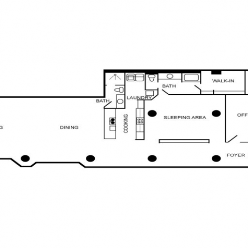 Floor plan featuring two bedrooms and two bathrooms.