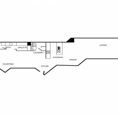 Loft style floorplan featuring one bedroom and one bathroom.