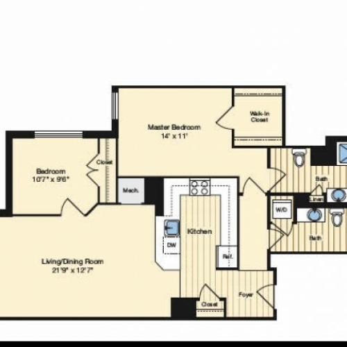 2 Bedroom Floor Plan 1 | Alexandria VA Luxury Apartments | Carlyle Place