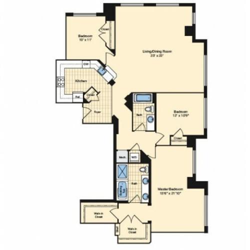 3 Bdrm Floor Plan | Apartments Alexandria VA | Carlyle Place