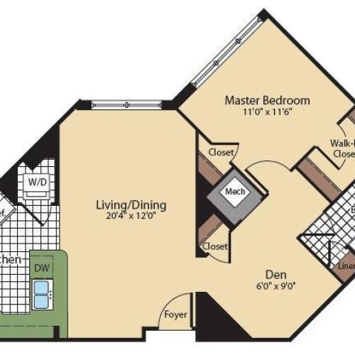Floor Plan 5 | North Bethesda Apartments | Meridian at Grosvenor Station