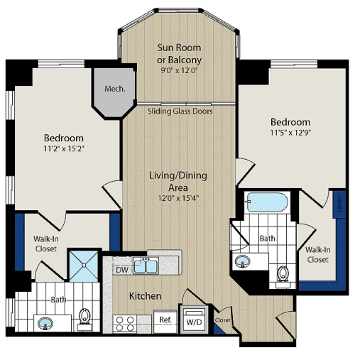 Floor Plan 7 | Luxury Apartments In Arlington VA | Meridian at Ballston Commons