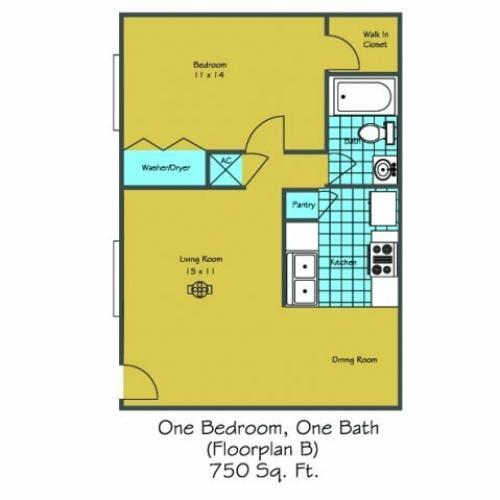 1 Floor Plan 2 | 1 Bedroom Apartments In Lafayette LA | Maison Bocage Apartments