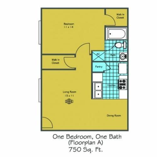 1 Floor Plan 6 | Luxury Apartments In Lafayette LA | Maison Bocage Apartments