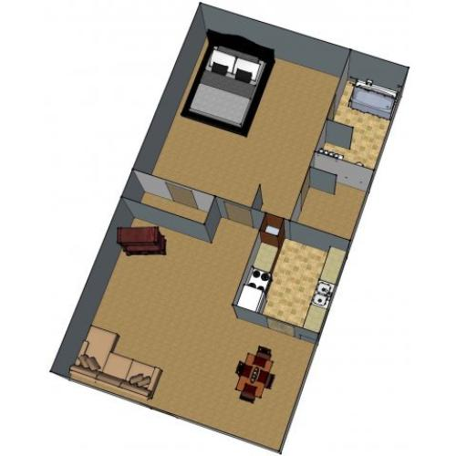 1 Bdrm Floor Plan | Baton Rouge Apartments | Chateaux Dijon