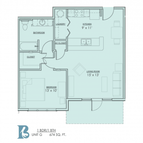 1 Bdrm Floor Plan | 1 Bedroom Apartments For Rent In Baton Rouge | Bayonne at Southshore