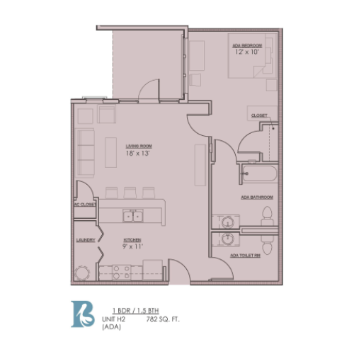 Floor Plan 7 | 1 Bedroom Apartments For Rent In Baton Rouge | Bayonne at Southshore
