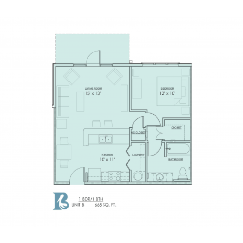 1 Bedroom Floor Plan | Luxury Apartments Baton Rouge | Bayonne at Southshore