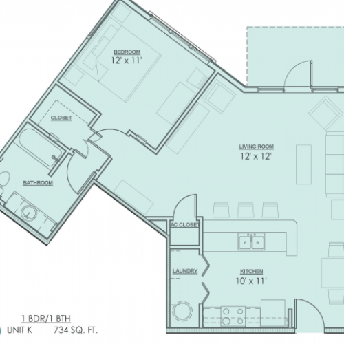 Floor Plan 2 | 1 Bedroom Apartments For Rent In Baton Rouge | Bayonne at Southshore