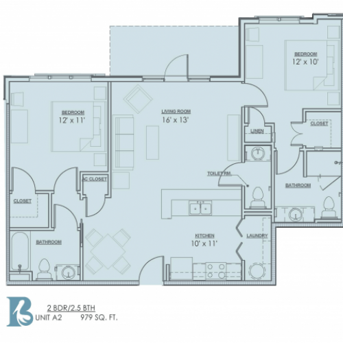 Floor Plan 5 | Apartments Near LSU | Bayonne at Southshore