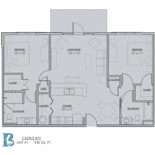 Floor Plan 3 | Apartments Baton Rouge | Bayonne at Southshore