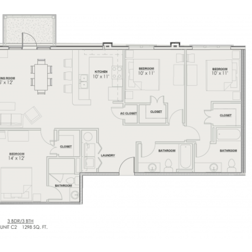 3 Bdrm Floor Plan | Luxury Apartments Baton Rouge | Bayonne at Southshore