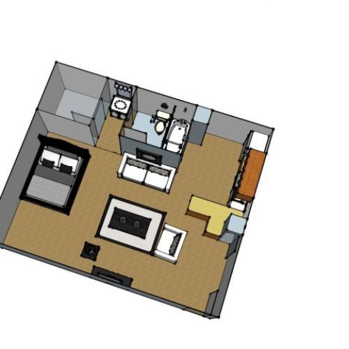 1 Bdrm Floor Plan | Baton Rouge Apartments | Afton Oaks