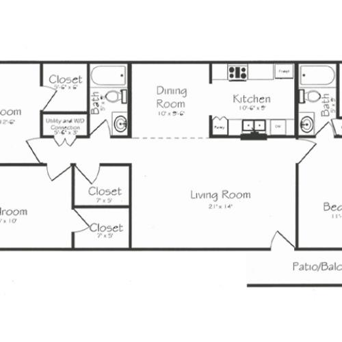 3 Bedroom 2 Bathroom Floorplan | Bayou Shadows Apartment Homes