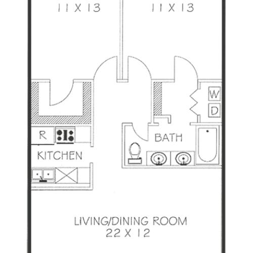 2 Bed 1.25 Bath Floorplan   Chateaux Dijon Apartments