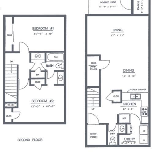 2 Bedroom 2 Bath Floorplan | Sycamore Point Apartment Homes