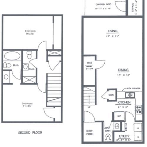 2 Bedroom 2.5 Bath Floorplan | Sycamore Point Apartment Homes