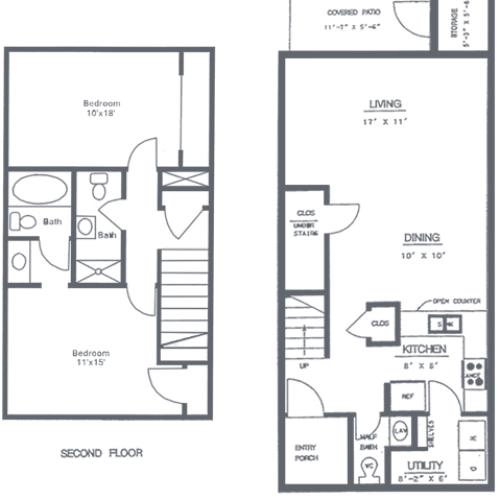 2 Bedroom 2.5 Bath Floorplan | Timber Ridge Apartment Homes