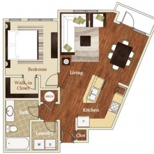 A1 floorplan model | Apartments in Cary, NC | Lofts at Weston