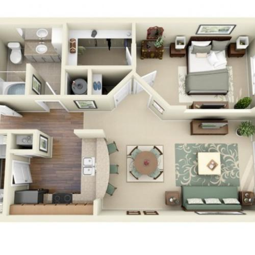 A1 floorplan model | Apartment Homes in Cary, NC | Weston Lakeside