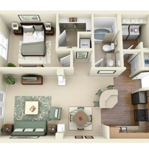 A3 floorplan model | Apartment Homes in Cary, NC | Weston Lakeside