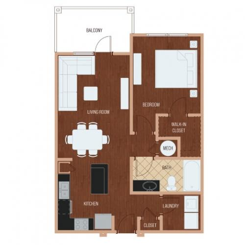 RA2 open floor plan  | Apartments in Cary, NC | Lofts at Weston