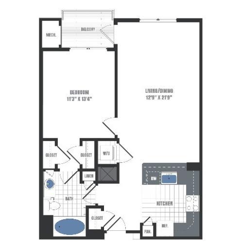 A1D Floorplan  | Apartments in Malvern, PA | Eastside Flats