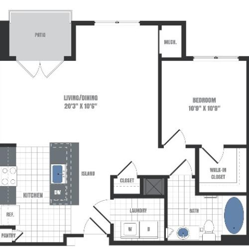 A2 Floorplan  | Apartments in Malvern, PA | Eastside Flats
