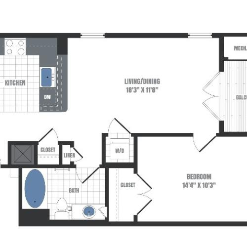 A3 Floorplan  | Apartments in Malvern, PA | Eastside Flats