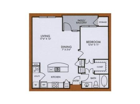 A4 one bed, one bath with large closet, dining room, kitchen island and patio/balcony