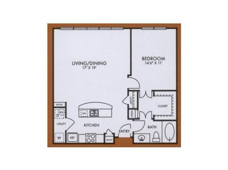 A5 one bed, one bath with kitchen island and large closet