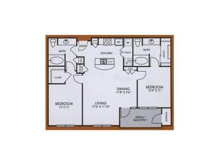 B1 two bed, two bath with dining room, patio/balcony and kitchen island