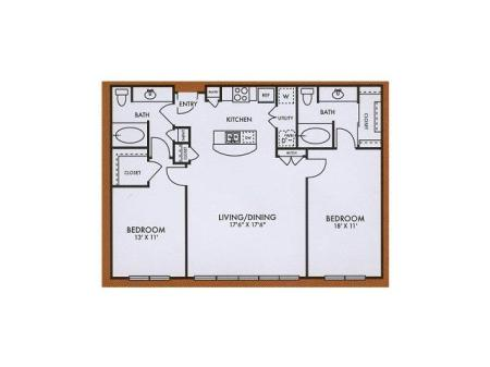 B2 two bed, two bath with dining room, patio/balcony and kitchen island