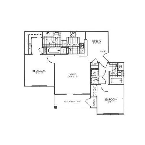 2 bedroom 2 bathroom apartment