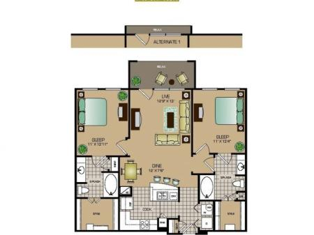 Two bedroom, two bath, kitchen, pantry, coat closet, living room, dining room, two walk in closets, linen closet and patio and laundry room