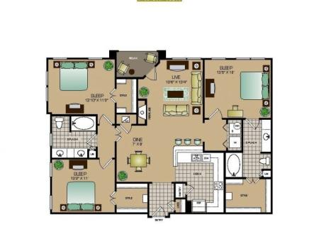 Three bedroom, two bath, Kitchen, dinning room, living room, laundry room, patio, three walk in closets