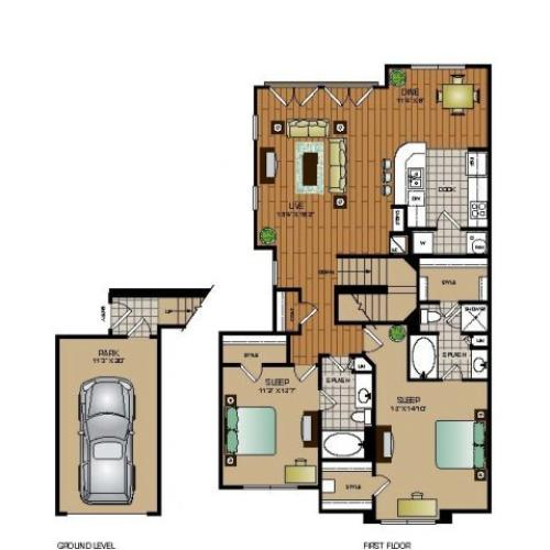 Two bedroom, two bathroom townhome with attached garage,kitchen, pantry, coat closet, living room, dining room, two walk in closets, linen closet and patio and laundry room