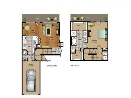 One bedroom one and a half bath, kitchen, kitchen pantry, living/dinning room, laundry room, one closet and patio.