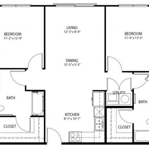 Two bedroom, two bath, kitchen, pantry, coat closet, living/dining room, two walk in closets, linen closet and laundry room. 1044 square feet B1-3 floor plan.