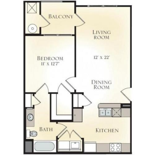 WILLOW A1 - ONE BEDROOM ONE BATH