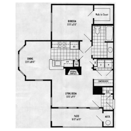 Camellia - 1 bed, 1 bath 776 square feet