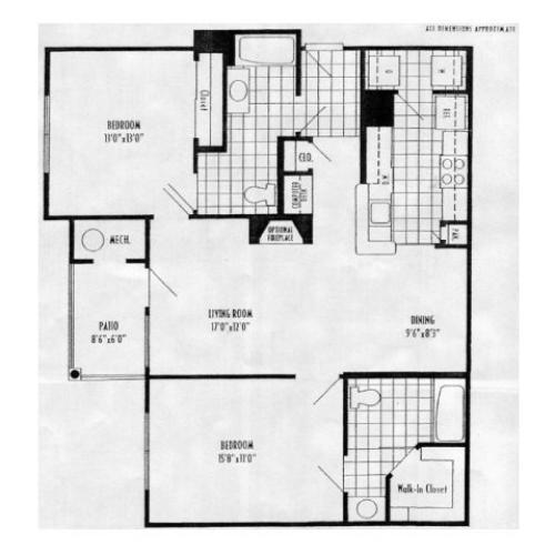 Hibiscus - 2 bed, 2 bath 1082 square feet