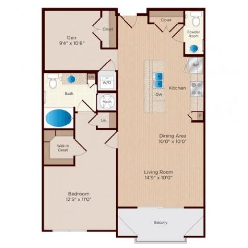 One Bedroom One and a Half Bathroom floor plan