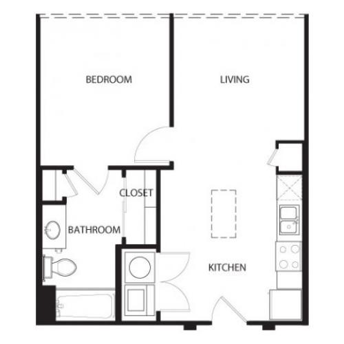 One bedroom one bath, kitchen, kitchen pantry, living room, dining room, laundry room, one, A 5 floor plan, 600 square feet.