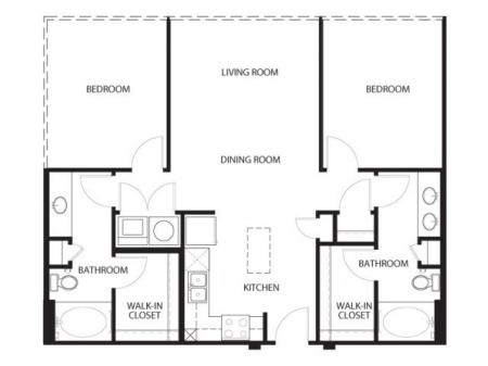 Two bedroom, two bathroom, living room, dining room, kitchen, two walk in closet, laundry room, utility closet, coat closet, and pantry. 1051 square feet B1-5 floor plan.