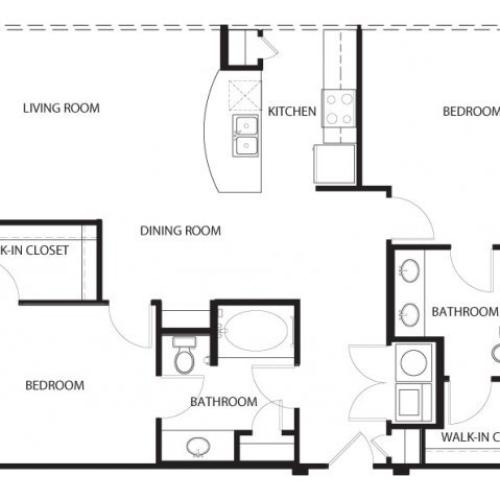 Two bedroom, two bathroom, living room, dining room, kitchen, two walk in closet, laundry room, utility closet, coat closet, and pantry. 1199 square feet B2-5 floor plan.