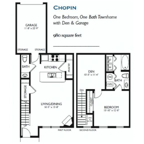Chopin - One bed One and One Half Bath - 980 sqft