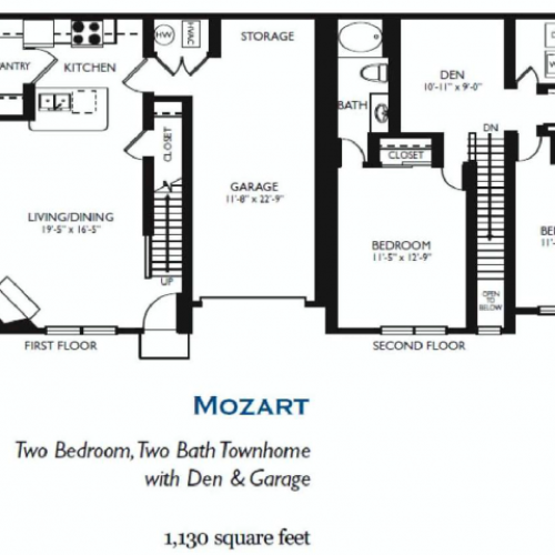 Mozart - Two bed Two bath - 1130 sq ft