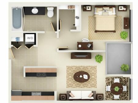 One Bedroom One Bathroom Floor Plan A2