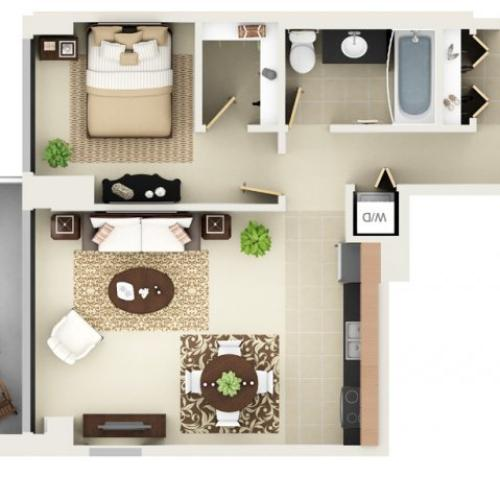 One Bedroom One Bathroom Floor Plan A5